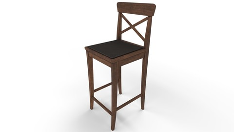 Game-Ready Bar Chair with 4K-PBR Texture Set