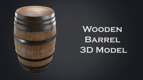 Old Wooden Barrel 3D Model