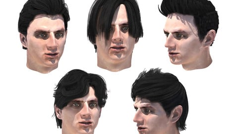 Set men`s hairstyles 5 types