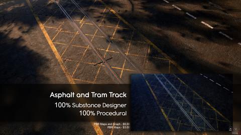 Asphalt with optional Tram Tracks Material - Substance Designer - 100% Procedural
