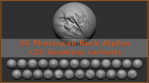Zbrush Rock Alphas and Tileable textures