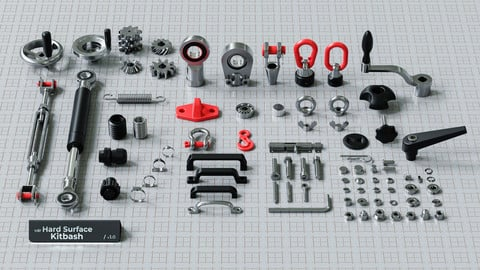 Hard Surface Kitbash Pack - Real Mechanical Components