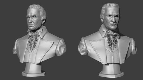 Vincent Price Bust 3D Print Ready - .ZPR, .OBJ, .STL files