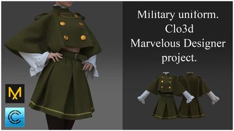 Military uniform. Clo3d, Marvelous Designer project.