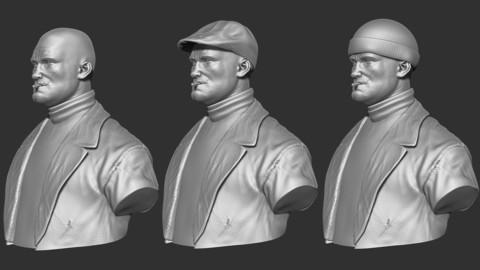 Boxer Bust 3D Print Ready - .ZPR, .OBJ, .STL files