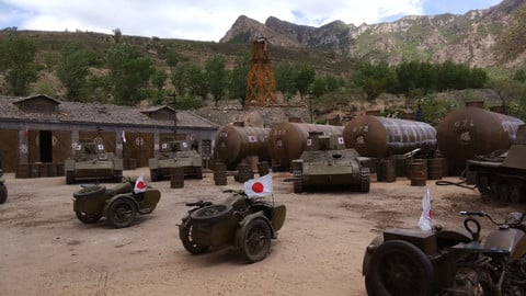 Japanese oil depot .Japanese army .war.soldiers