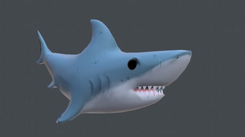 Low poly shark (with animations)
