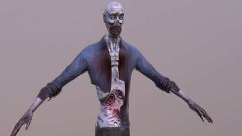 Low poly zombie with animations