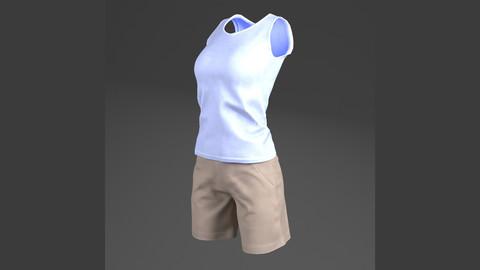 Sleeveless Shirts, Short (For woman, PBR, Lowpoly, Max, FBX)