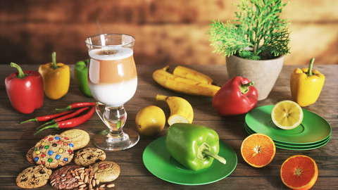 Fruits on Table Scene