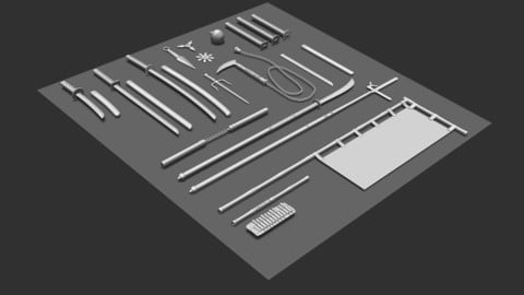 Japanese Weapons Brush Pack for ZBrush