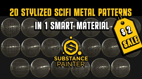 20 Stylized SciFi Metal Patterns in 1 Smart Material | Early Bird Pricing $2!
