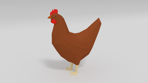 Low Poly Cartoon Chicken