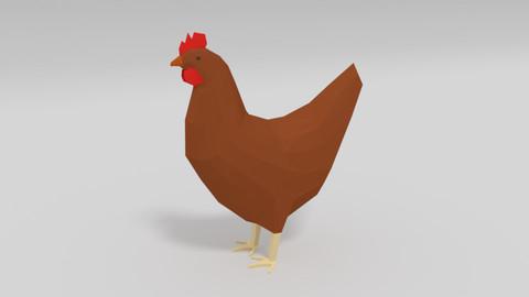 Low Poly Cartoon Chicken