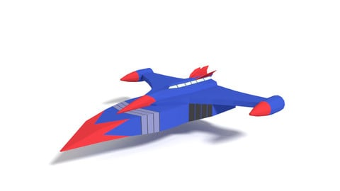 Low Poly Cartoon God Phoenix Spaceship