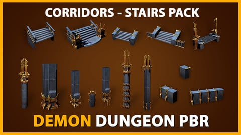 PBR Demon Dungeon - Corridors Stairs UE4 & UNITY package