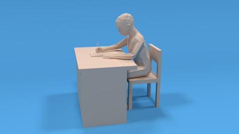Low Poly Kid Sitting and Writing