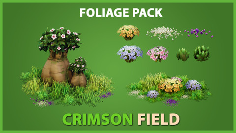 Crimson Field Stylized Foliage Package - UE4 & UNITY
