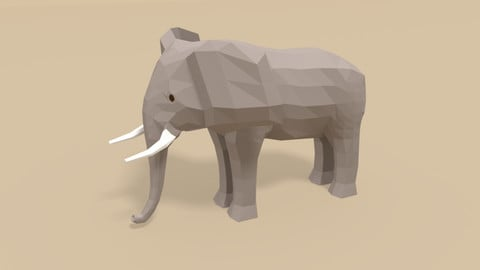 Low Poly Cartoon African Elephant