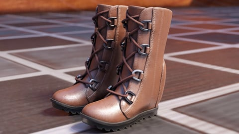 Download Women's Brown Leather Boots in Blender Cycles 2.79 and Blender Eevee 2.8
