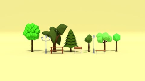 Low Poly Cartoon Park Assets Pack