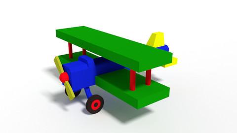 Low Poly Cartoon Biplane Toy