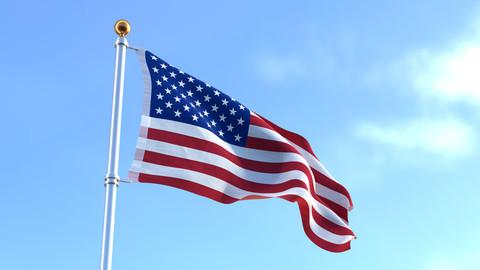 Waving American Flag - 360 Degree Dolly Shot - 3d Rendering - 4K