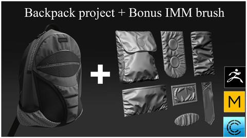 Backpack+bonus (Insert mesh brush) Marvelous designer, Clo3d, Zbrush
