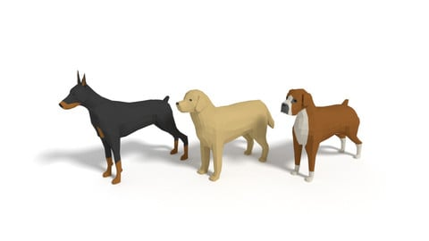 Low Poly Cartoon Dog Pack 3D Model Collection