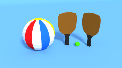 Low Poly Beach Items Pack Free