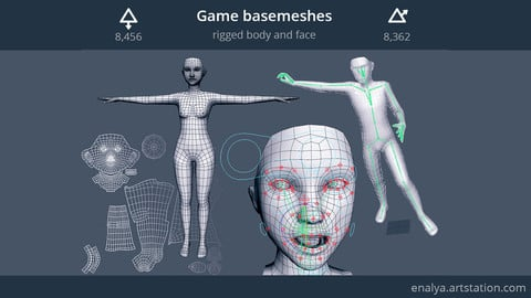 Game basemeshes (rigged body & face)