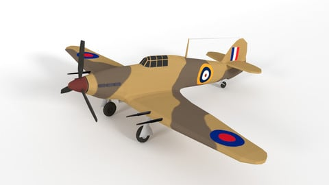 Low Poly Hawker Hurricane MK IIC WW2 Airplane