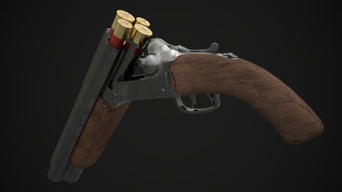 Sawed-Off Four-Barrelled Shotgun (Game Ready)