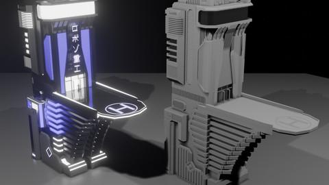 Futuristic Sci-Fi Building (FBX/OBJ)