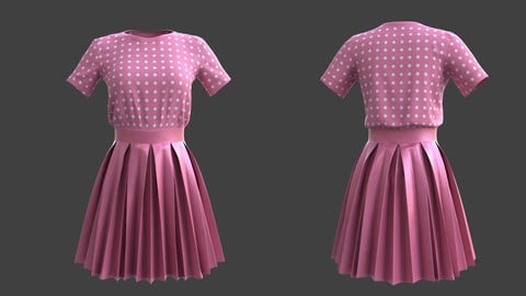 3D pleated dress -skirt and top