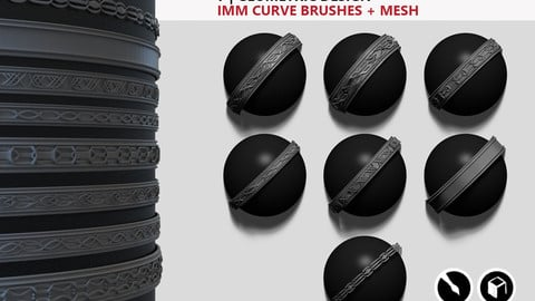 7 | geometric design iMM CURVE brushes + mesh