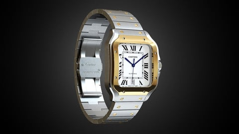 High-detailed 3D model luxury watch Santos de Cartier