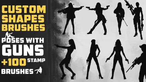 Poses With Gun ( Stamp Brushes )  - Concept Art Pose Pack