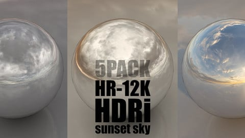 SKYDOME HDR 360° PANORAMA  - sunset clouded skies 5PACK