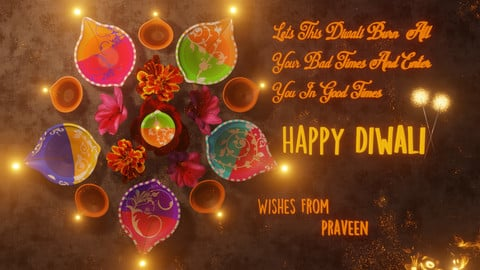 Happy Diwali Wishes 3D Template