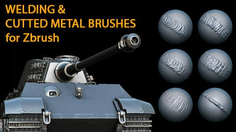 Cutted metal and Welding Brushes for Zbrush