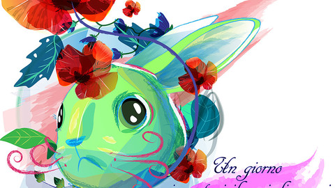 a strange green rabbit with a red mustache, fairy-tale vector illustration