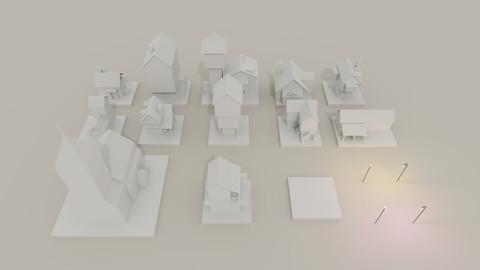 Paper Village set (MagicaVoxel)