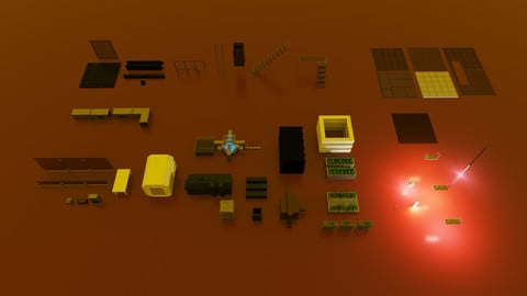 Bunker assets (MagicaVoxel)
