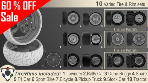 Set of 10 high poly rims and tires.