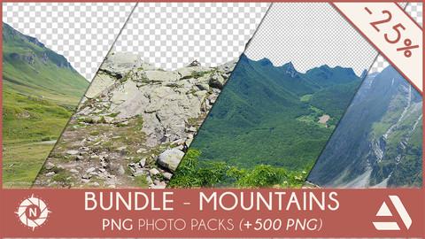 Bundle - 6 PNG Photo Packs:  Mountains & Rocks