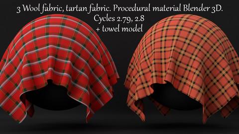 Procedural Woolen, Tartan Fabric Material For Blender 3d. Cycles 2.79, 2.8.