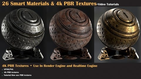 26 Smart Materials and 4K PBR Textures + Video Tutorial