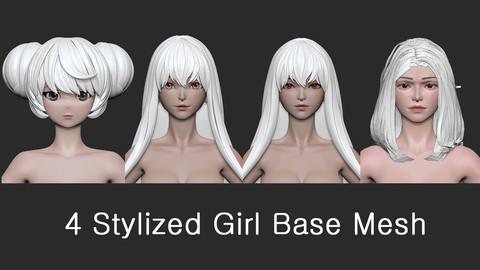 4 Stylized Girl Base Mesh