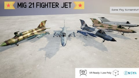 MiG 21 Pack of 5 Designs - Rigged and Animated Low-poly 3D model